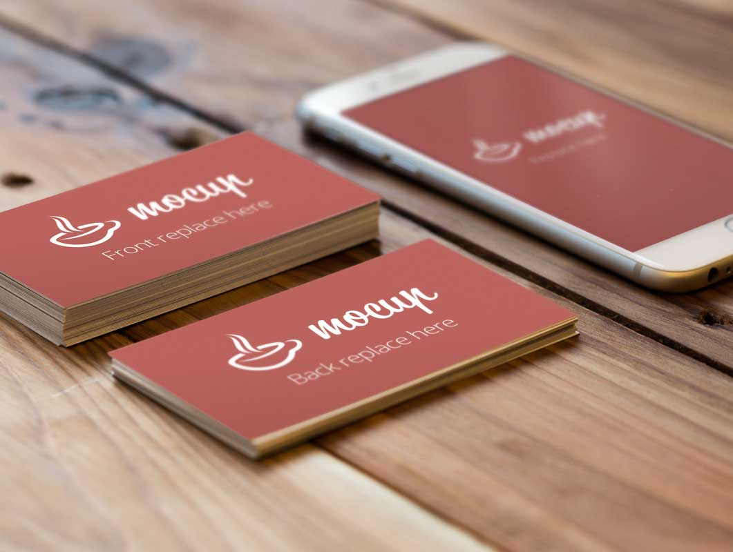 Realistic Business Card PSD Mockup Stacks With iPhone 6 - PSD Mockups