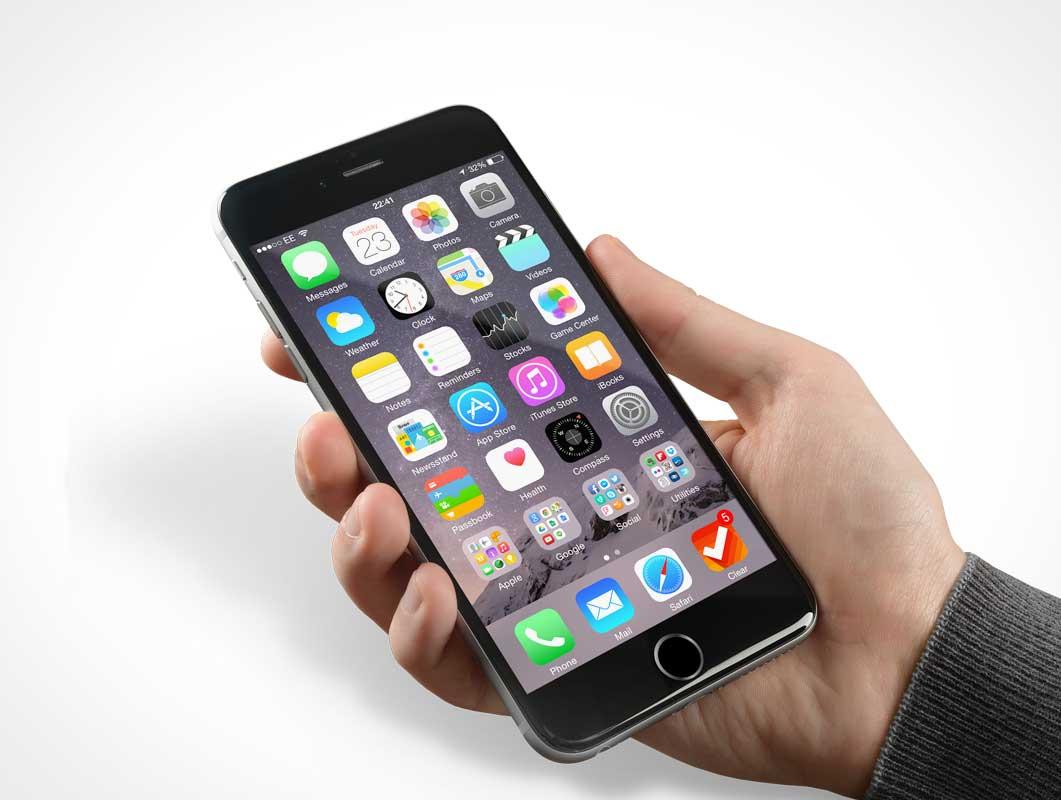 Realistic Photo iPhone PSD Mockup Handheld