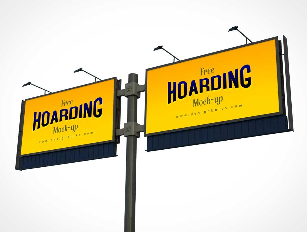 Roadside Billboard Advertising PSD Mockup With Lighting
