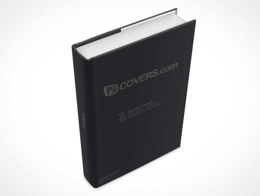 Rotated Hardcover PSD Mockup In Portrait Mode