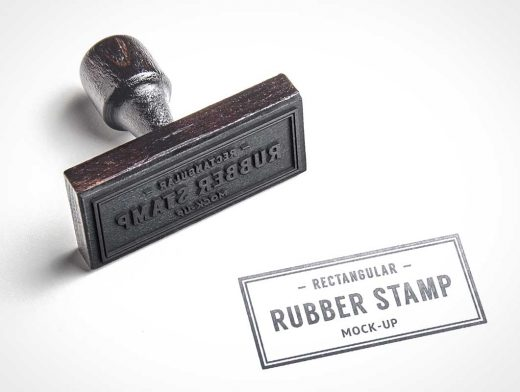 Rubber Stamp PSD Mockup With Wood Handle