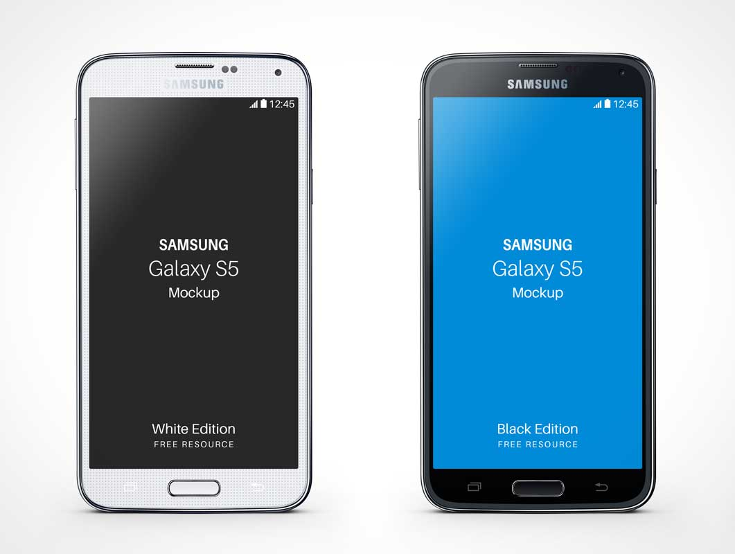 Samsung Galaxy S5 PSD Mockup Standing Side by Side
