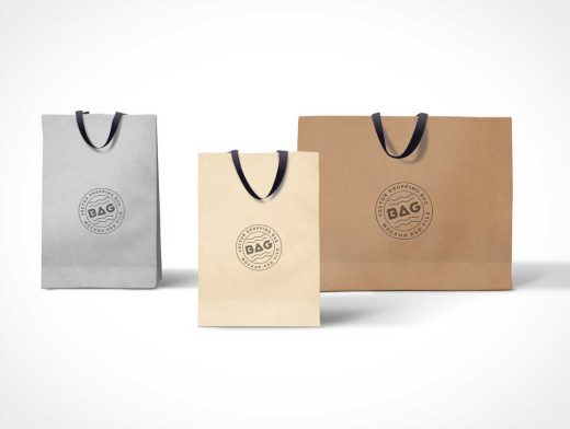Shopping Bags PSD Mockup With Cloth Carry Handles