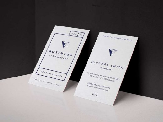 Side by Side Business Card PSD Mockup Leaning Against Wall Vol27