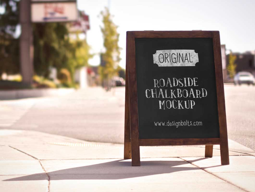 Sidewalk Sign PSD Mockup With Chalkboard Surface