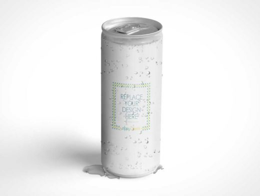 Slim Soda Can PSD Mockup With Condensation Drops