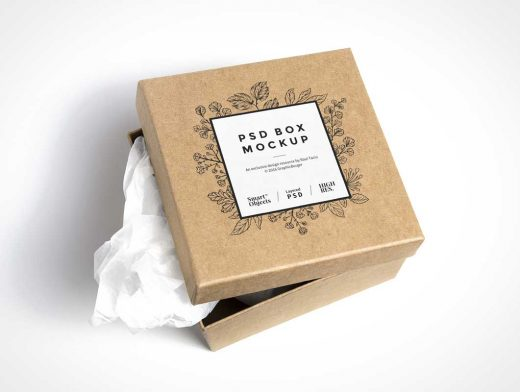 Small Cardboard Box PSD MockUp Slightly Opened