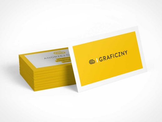 Stack of Business cards PSD Mockup Landscape format