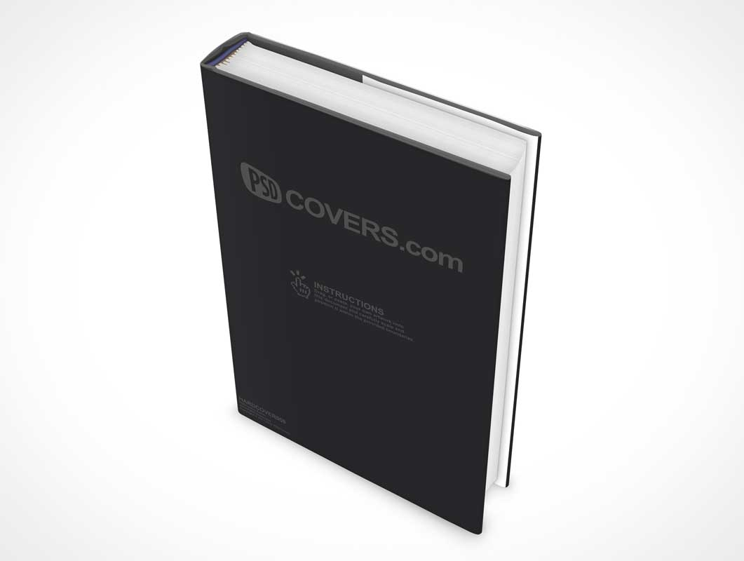 Standing Hardcover PSD Mockup Book Rotated Left 30 Degrees