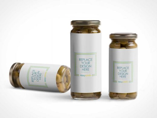 Standing Olive Glass Jar PSD Mockup with Closed Metal Lid