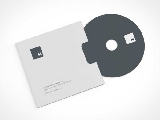 Stationery PSD Mockup With CD and Sleeve