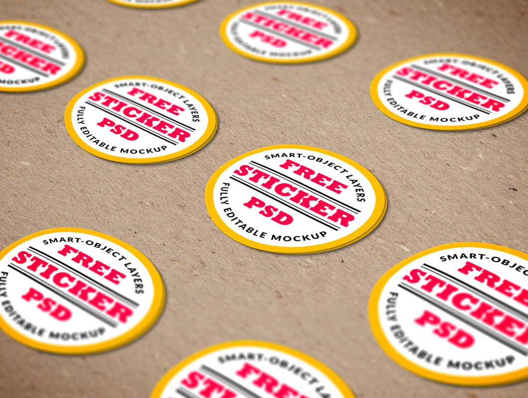 Sticker flair psd mockup scene
