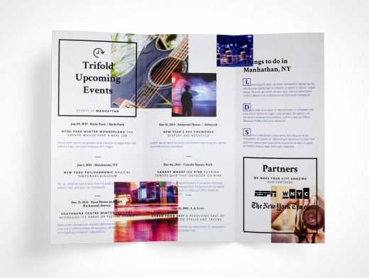 Tri Fold Brochure PSD Mockup Unfolded Vol7