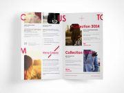 Unfolded Bi Fold Brochure PSD Mockup Vol6
