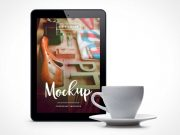 Upright Tablet PSD Mockup with Porcelain Coffee Cup