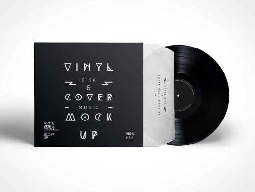 Vinyl Record PSD Mockup With Cover Sleeve