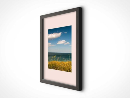 Wall Hung Photo Frame PSD Mockup With Black Trim