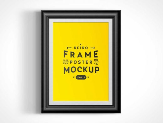 Wall Mounted Poster Frame PSD Mockup Vol6