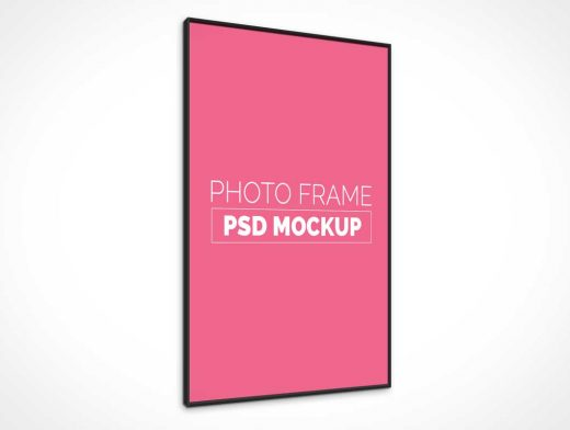 Wall Poster PSD Mockup With Box Frame