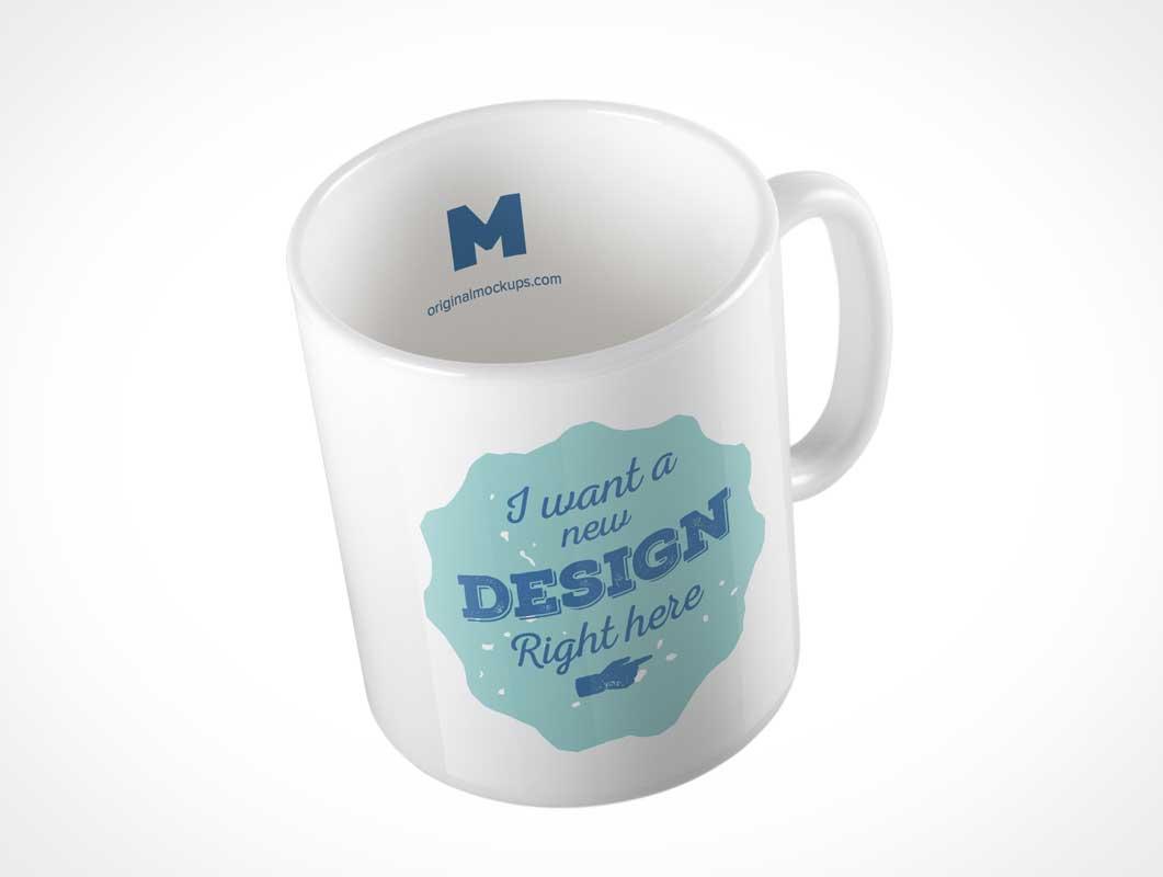 White Ceramic Mug PSD Mockup Above Product Shot