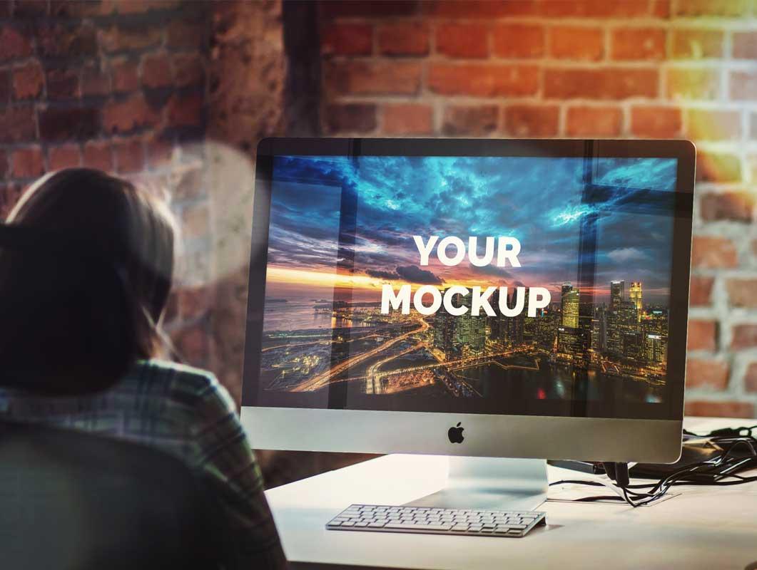 iMac 27-Inch PSD Mockup Boutique Office Scene