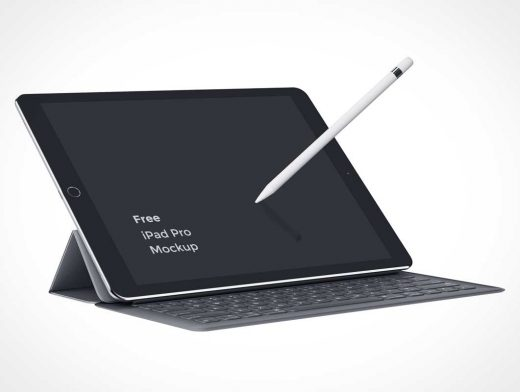 iPad Pro PSD Mockup With Smart Keyboard Cover