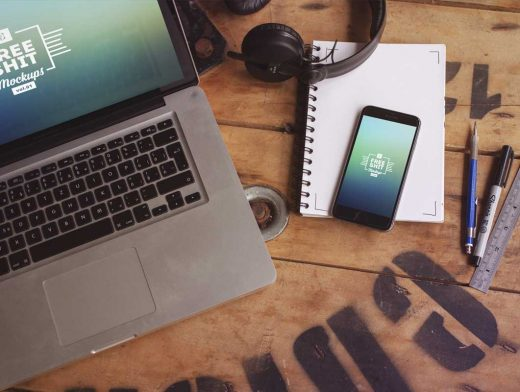 iPhone And MacBook PSD Mockups Workshop Scene