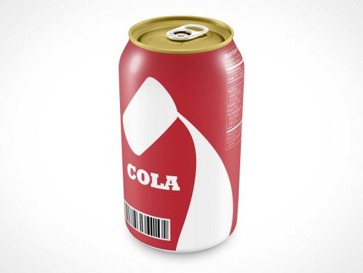 Soda Pop Can PSD Mockup Above View