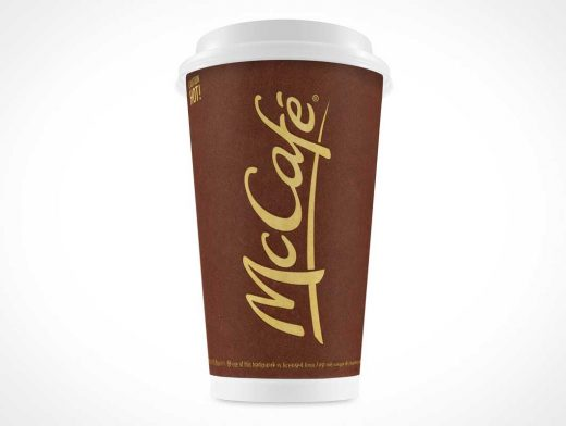 16oz Coffee Cup PSD Mockup With Plastic Lid