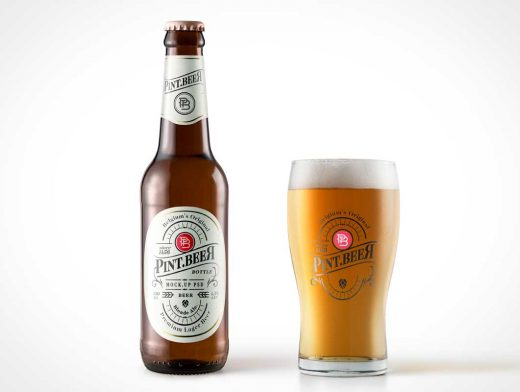 Amber Beer Bottle PSD Mockup With Weizen Glass