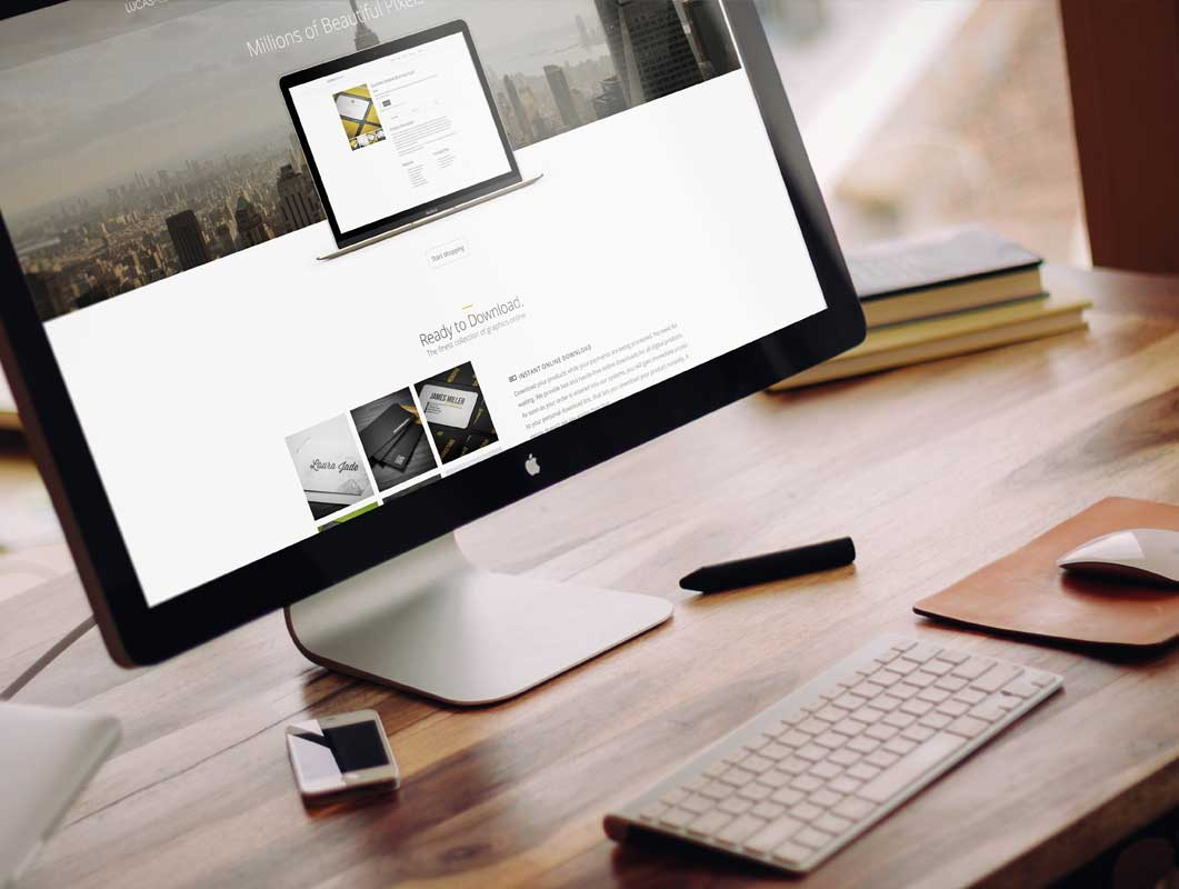Apple iMac PSD Mockup Boutique Office Scene