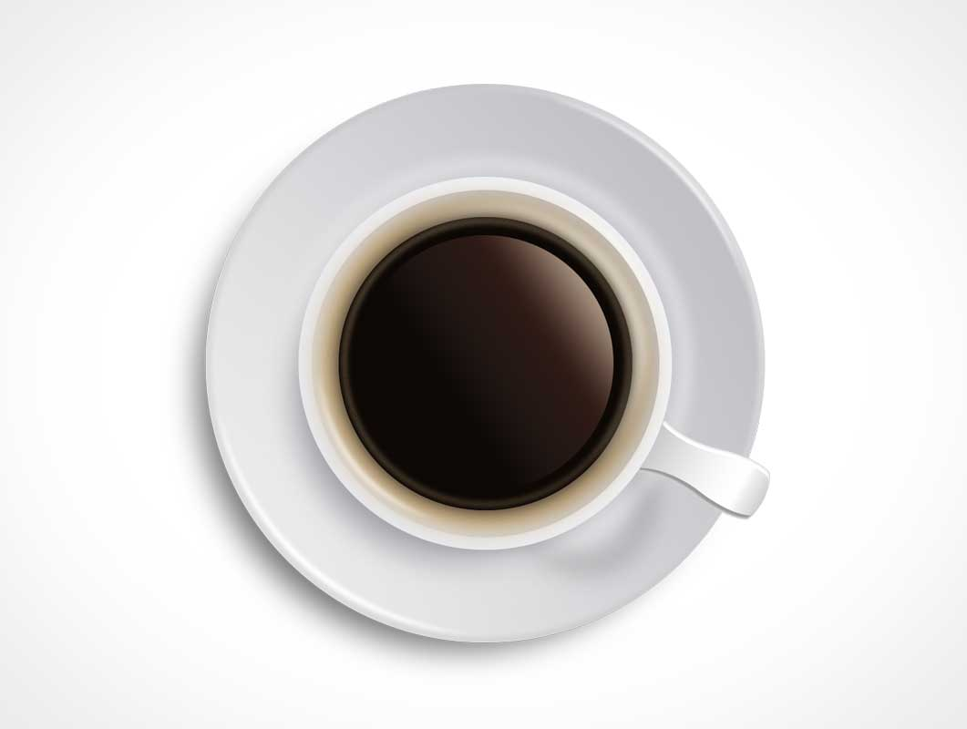 Black Coffee Psd Mockup Ceramic Cup And Saucer Top View