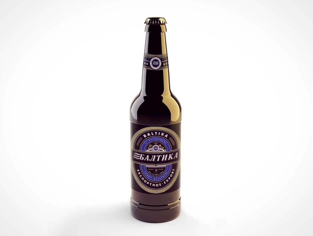 Bottle Beer PSD Mockup Long Neck Brown Glass