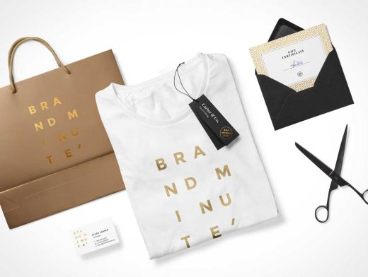 Boutique Store Stationery PSD Mockup Bag and T-Shirt Scene