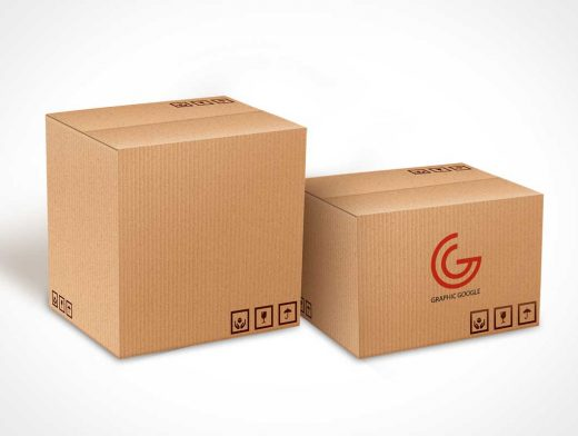 Box Carton Delivery Packaging PSD Mockup