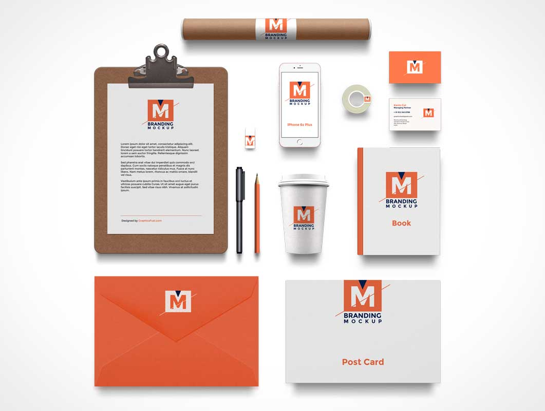 branding identity psd mockup flat 2d corporate stationery - psd, Powerpoint templates