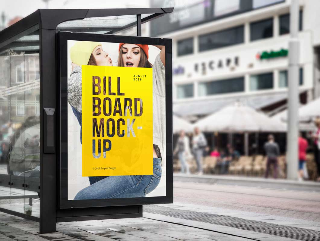 Bus Stop Billboard PSD Mockup Outdoor Advertising