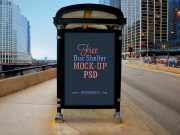 Bus Stop Outdoor Sign PSD Mockup