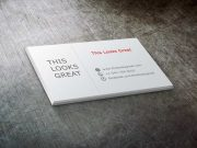 Business Card Stack PSD Mockup On Brushed Metal Surface