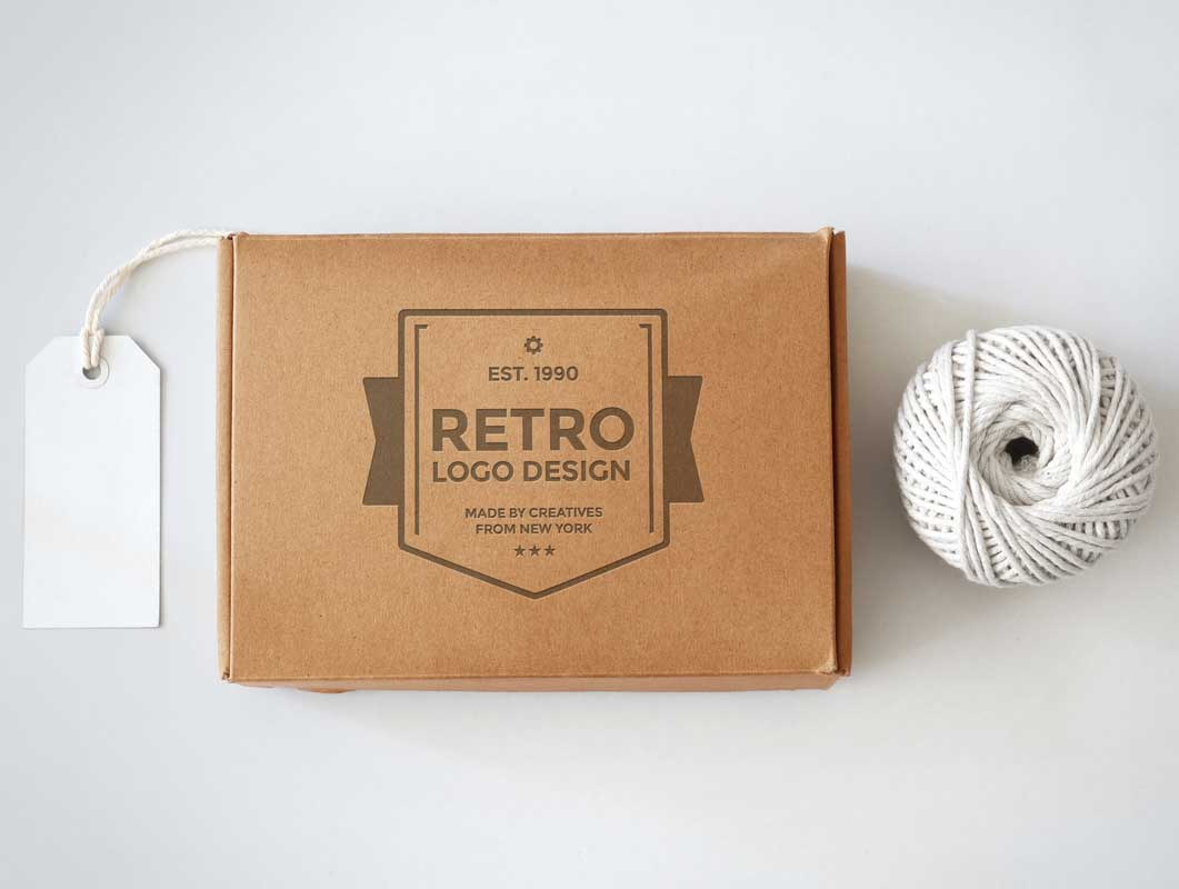 Cardboard Box PSD Mockup With Tag and String