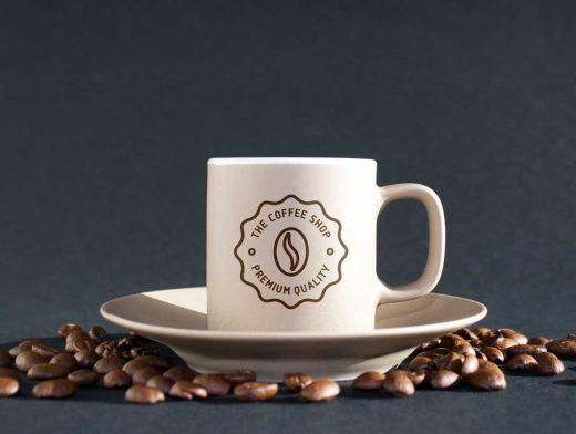 Coffee Mug With Beans PSD Mockup
