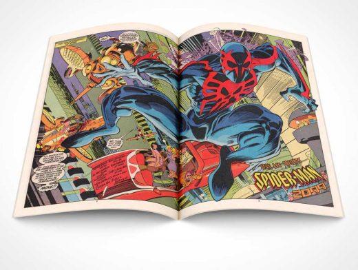 Comic Book Centrefold PSD Mockup Face Up
