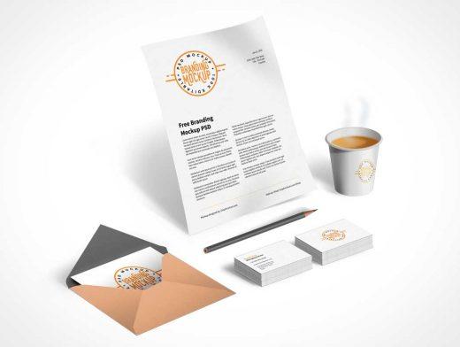 Corporate Branding PSD Mockup Isometric Layout