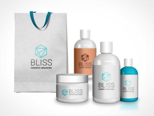 Cosmetic Branding PSD Mockup With Carry Bag