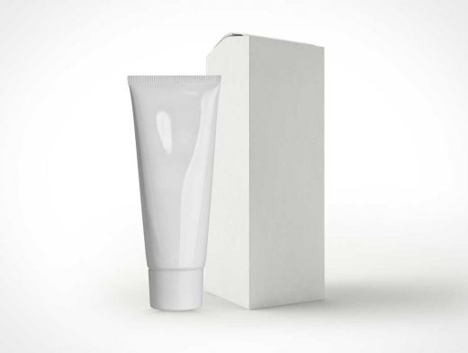 Cosmetic Tube & Box PSD Mockup Product Shot