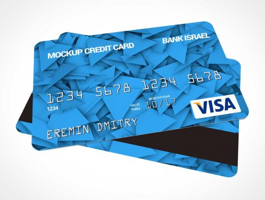 Credit Card PSD Mockup Stacked Front to Back