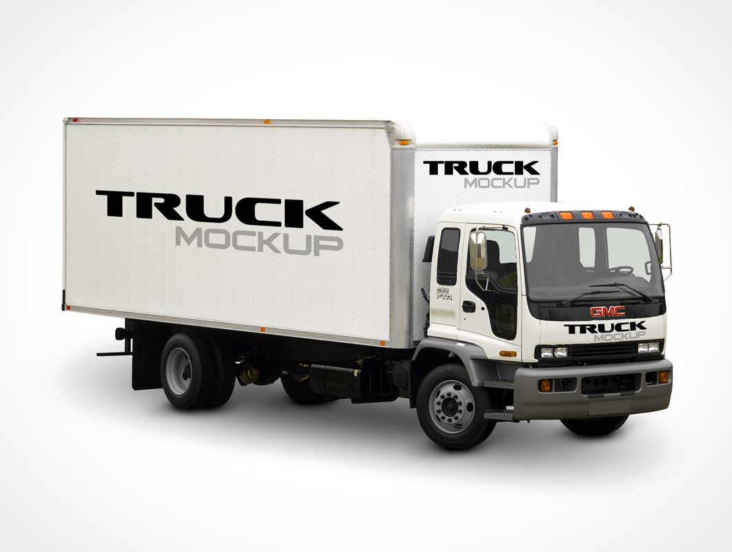 Delivery Truck PSD Mockup Photo