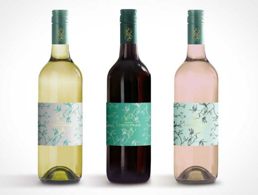 Display Wine Bottle PSD Mockup