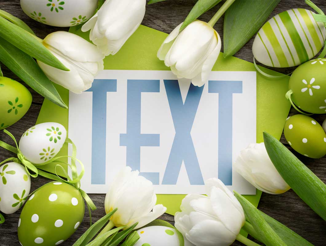 Easter Holiday Card PSD Mockup With White Flowers