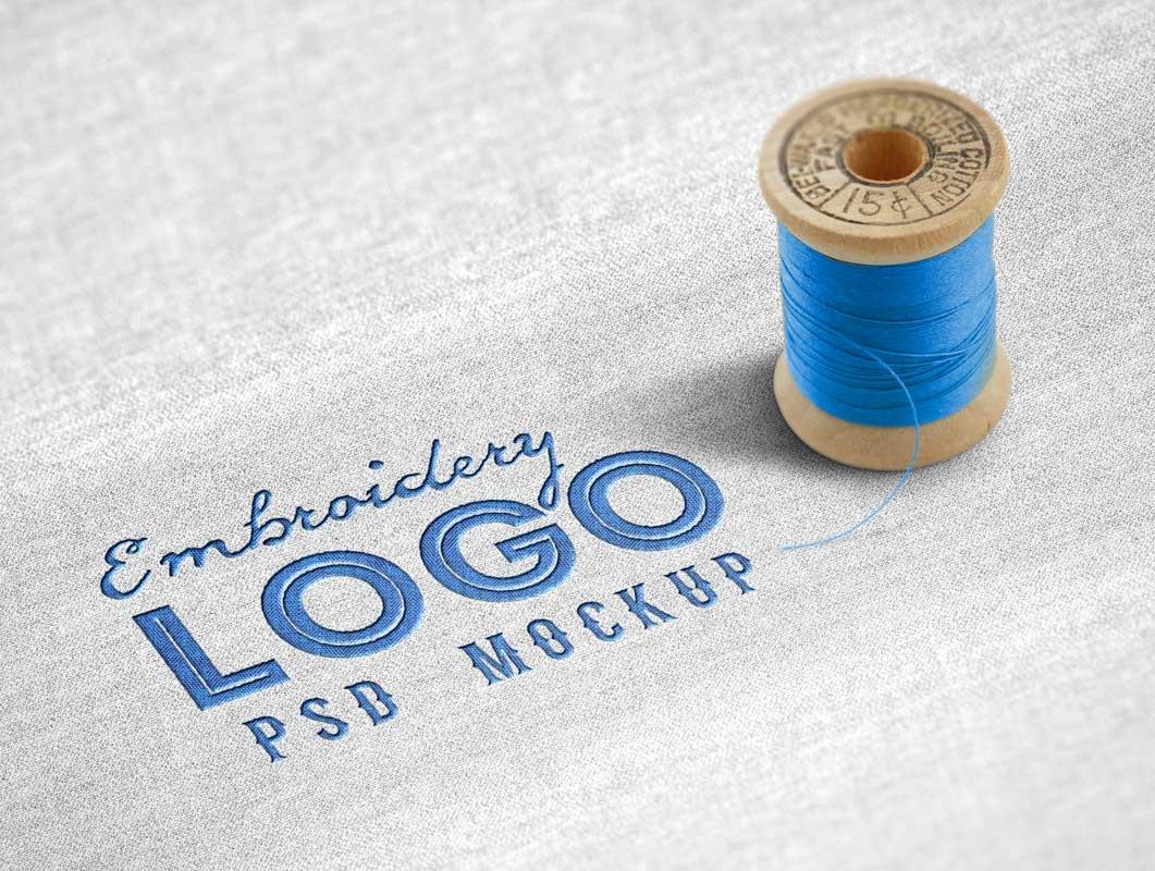 Fabric Embroidered PSD Mockup Logo
